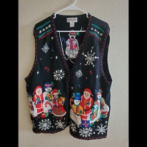 Vintage Christmas Ugly Sweater Vest Cardigan XLA